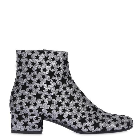 06c79698ca3 Yves Saint Laurent Shoes | Saint Laurent Black Silver Glitter Star ...